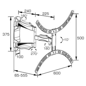 Double Arm Curved Wall Mount full-motion